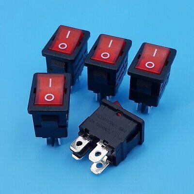 5pcs Honyone 4pin 220vac Red Lamp On-off Dpst Mini Rocker Switch 12a 125vac