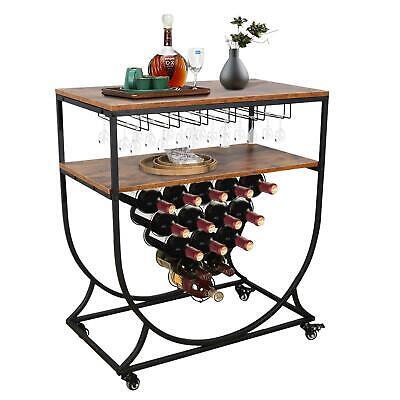 Heavy Duty Kitchen Dining Bar Serving Cart Wine Rack Storage Glass Holder