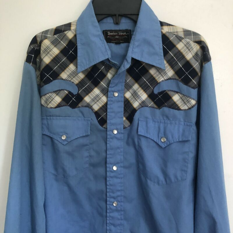 Vintage BORDER TOWN Pearl Snap Button Long Sleeve WESTERN Shirt  Size Medium