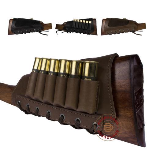 Leather Rifle Ammo Pouch Shotgun Shells Cartridge Holder Buttstock Cheek Pad Ga