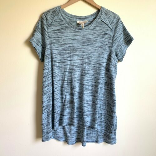 Jessica Simpson Nursing Size XL Blue Black Top Short Sleeve Shirt Side Slits
