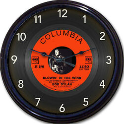 Bob Dylan Blowin' in the Wind Wall Clock Retro Image of Vinyl 45 RPM Record 10