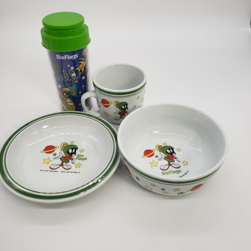 Marvin The Martian Sixflags Dish Set 2001 Warner Brothers