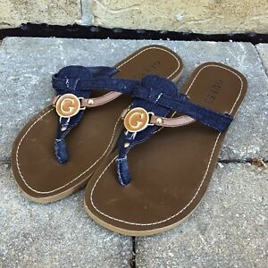 Guess Flat Sandal with T-Strap Denim Material Upper (size 7.5)