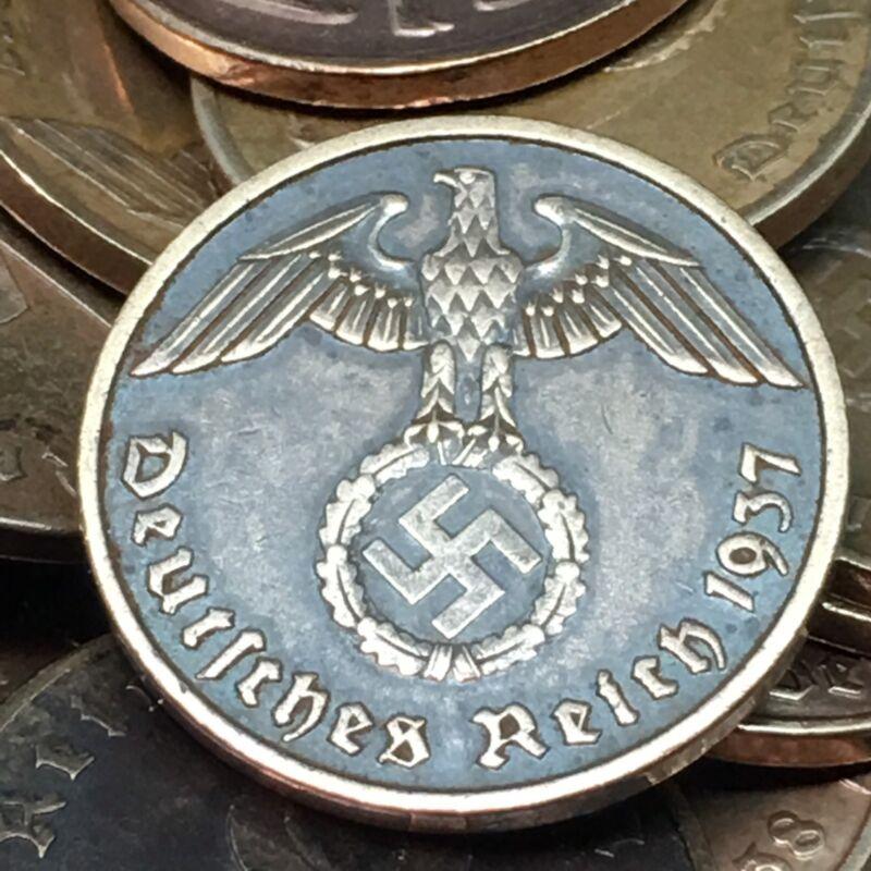 Rare WW2 Nazi Bronze 2 RP Reichspfennig Swastika Coin Buy 3 Get 1 Free