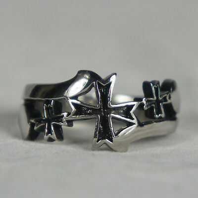 Oxidized Mens Cross Ring (INOX JEWELRY Mens Sovereign Steel Black Oxidized Crosses Ring Size 9-14)