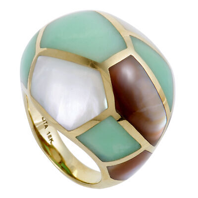 Ippolita Polished Rock Candy 18K Yellow Gold Mother of Pearl and Agate Dome Ring