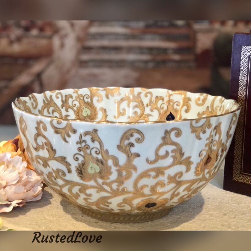 """Large Chinese White and Gold Tapestry Porcelain Bowl Hand Painted Gold 12"""""""
