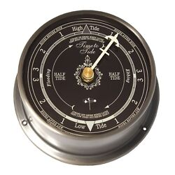 Brushed Nickel Tide Clock : Navy Blue Dial, Downeaster Wind & Weather