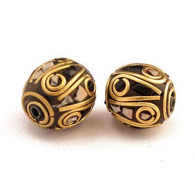 Black White Howlite Brass 2 Beads Tibetan Nepalese Handmade From Nepal UB2474