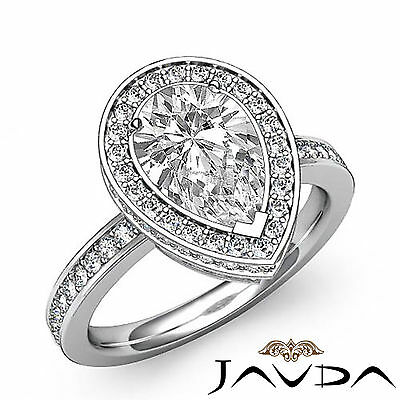 Circa Halo Pave Pear Shape Diamond Engagement Ring GIA Certified G SI1 2.05 Ct