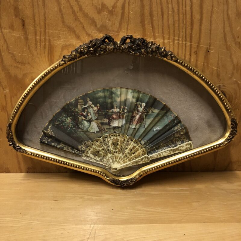 Vintage Signed and Framed Hand Fan in Gold Shadow Box Fan Frame with Bow