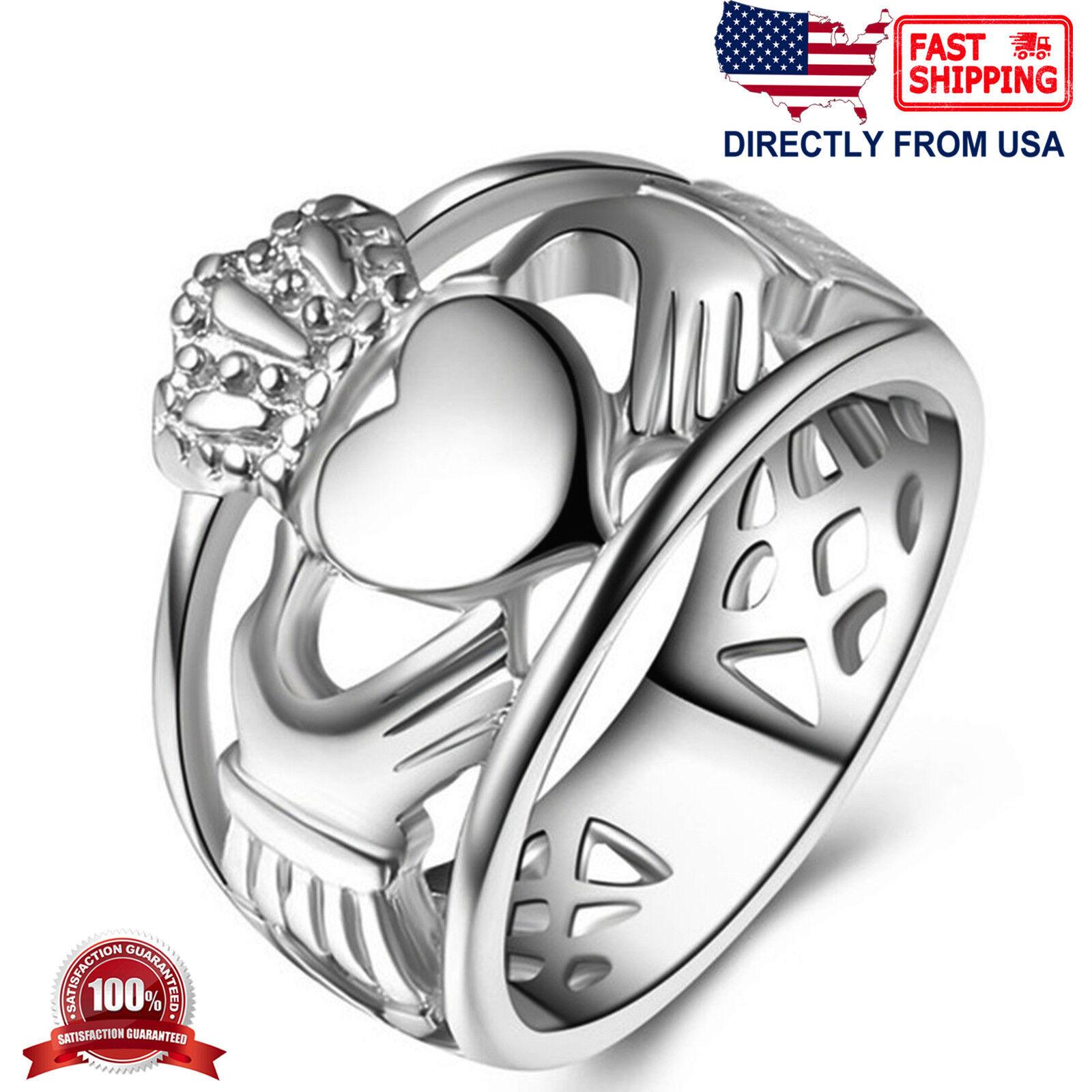 Unisex Stainless Steel Irish Friendship Heart Love Claddagh Ring Fashion Jewelry