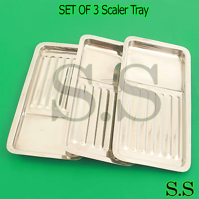 Set Of 3 Scaler Tray Dental Surgical Medical Instruments