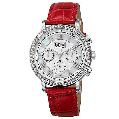 New Women's Burgi BUR087RD Swiss Quartz Multifunction Red Leather Strap Watch