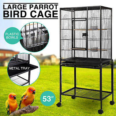 Large Parrot Bird Cage Cockatiel Lovebird Finch Feeder Stand Play  House 53""