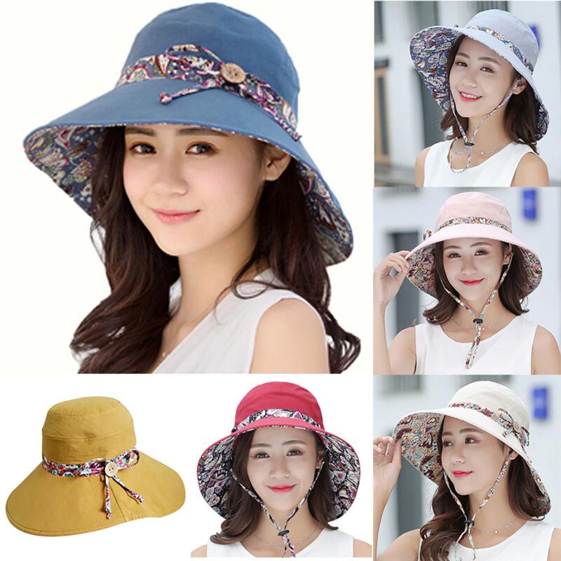Women Floral Summer Big Wide Brim Cotton Hat Floppy Derby Be