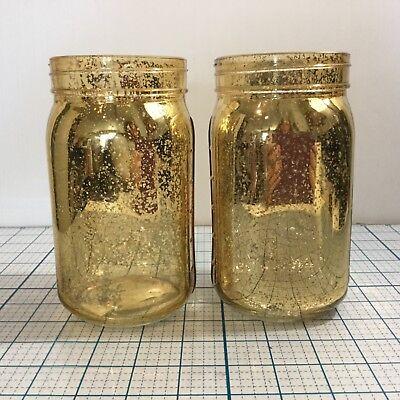 DARICE Glass Mason Jar (2-Pack): GOLD - NWT - Christmas - Wedding