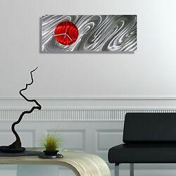 Statements2000 Metal Wall Clock Art Modern Silver Red Abstract Decor Jon Allen