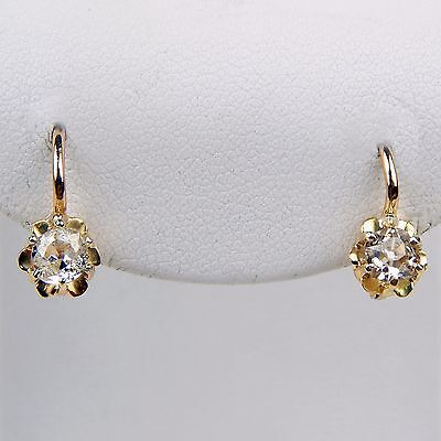 Pair of Victorian Buttercup Dangle Drop Stud Earrings in 18 kt Gold sku 6561