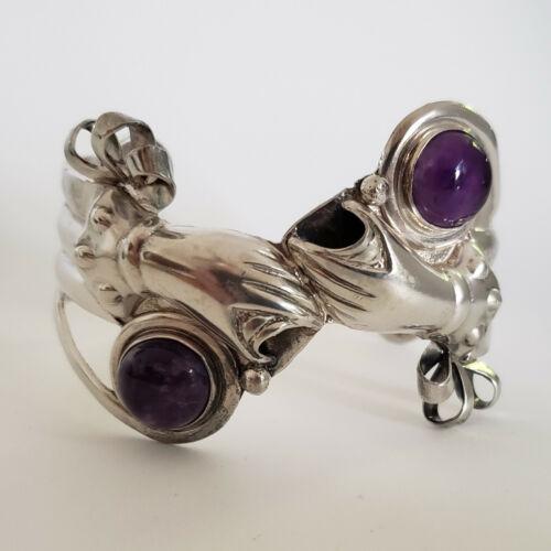 Sterling Silver R. Rivera Amethyst Cuff Bracelet Taxco Mexico 48.8g [6728]