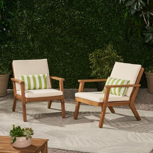 Avacyn Outdoor Acacia Wood Club Chairs with Cushions (Set of 2) Home & Garden