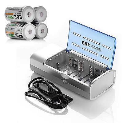 4x 10000mAh D Size Rechargeable Batteries + AA AAA C D 9V Ni-CD/Ni-MH Charger
