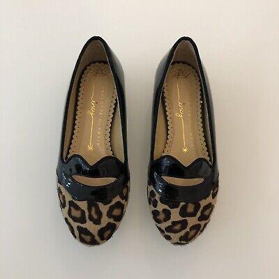 CHARLOTTE OLYMPIA Girls Dress Shoes, Black w/Leopard Detail Size 29