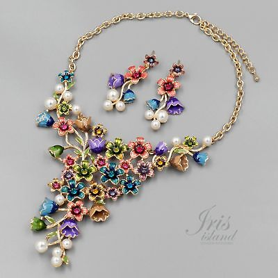 Gold Plated Multi-color Flower Wedding Necklace Earrings Jewelry Set 09231 Pearl ()