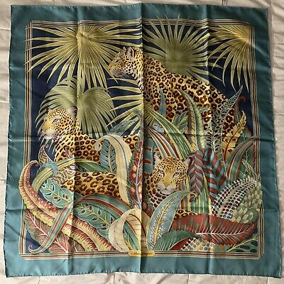 "Vintage Scarf Styles -1920s to 1960s Vintage SALVATORE FERRAGAMO Hand Rolled Edge SQUARE 100% SILK SCARF Cheetahs 35"" $79.95 AT vintagedancer.com"