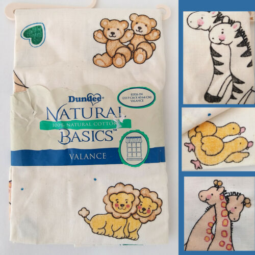 Vintage DUNDEE NATURAL BASICS Cotton Curtain VALANCE Hearts Animals 85x16 NOS