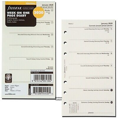2020 Filofax Personal Size Refill 20-68439 Week On One Page Multilanguage Cream