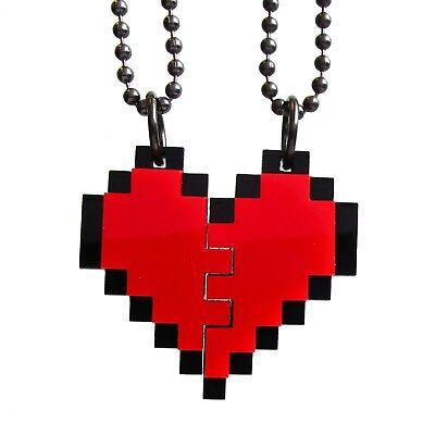 BFF Heart Necklaces Friendship Pixel Heart Set of 2 Necklace Best Friends (Pixelated Heart)