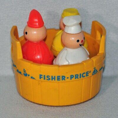 Vintage Fisher Price 3 Men In A Tub Toy Butcher Baker Candlestick Maker 1219!!!