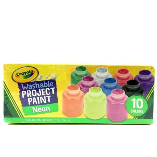 Crayola Washable Project Paint Bottles Neon 10 Colors 2oz each