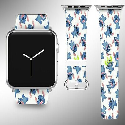 Stitch Disney Apple Watch Band 38 40 42 44 mm Fabric Leather Strap 01 ()
