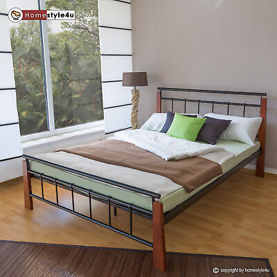 Metallbett Bett Bettgestell Doppelbett Bettrahmen + Lattenrost Holz 180x200 cm