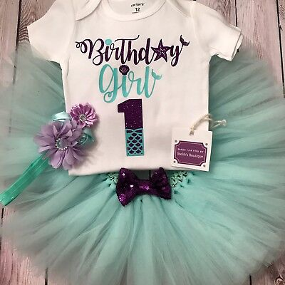 Mermaid First Birthday tutu, little mermaid outfit, under the sea birthday shirt