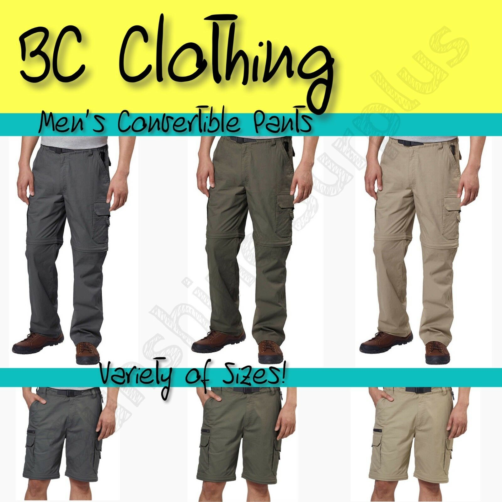NEW BC Clothing Men's Convertible Stretch Cargo Hiking Activ