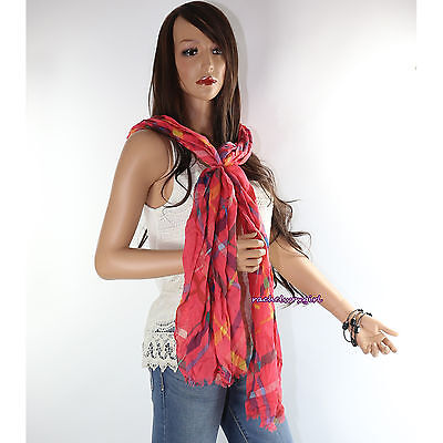 NWT Coach Tattersall Plaid Oblong Long Neck Scarf Wrap 83382 Coral Pink NEW RARE Plaid Neck Wrap