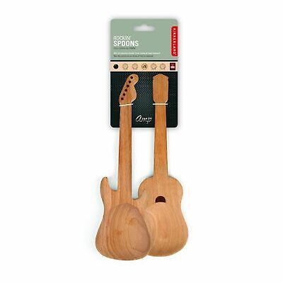 Kikkerland Set Of 2 Beechwood Rockin' Spoon Guitar Serving Kitchen Utensils Gift