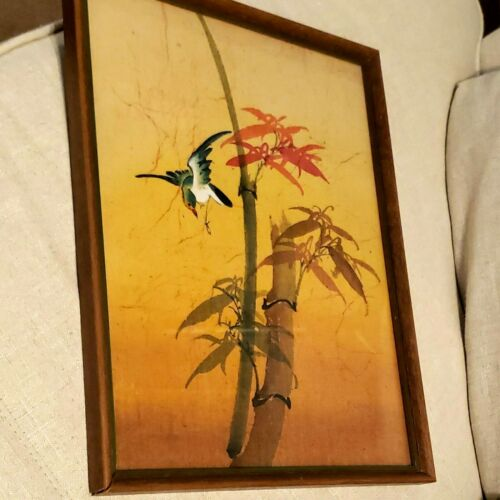 Vintage Signed Chinese Silk Painting Bird with Bamboo Tree Branch Framed