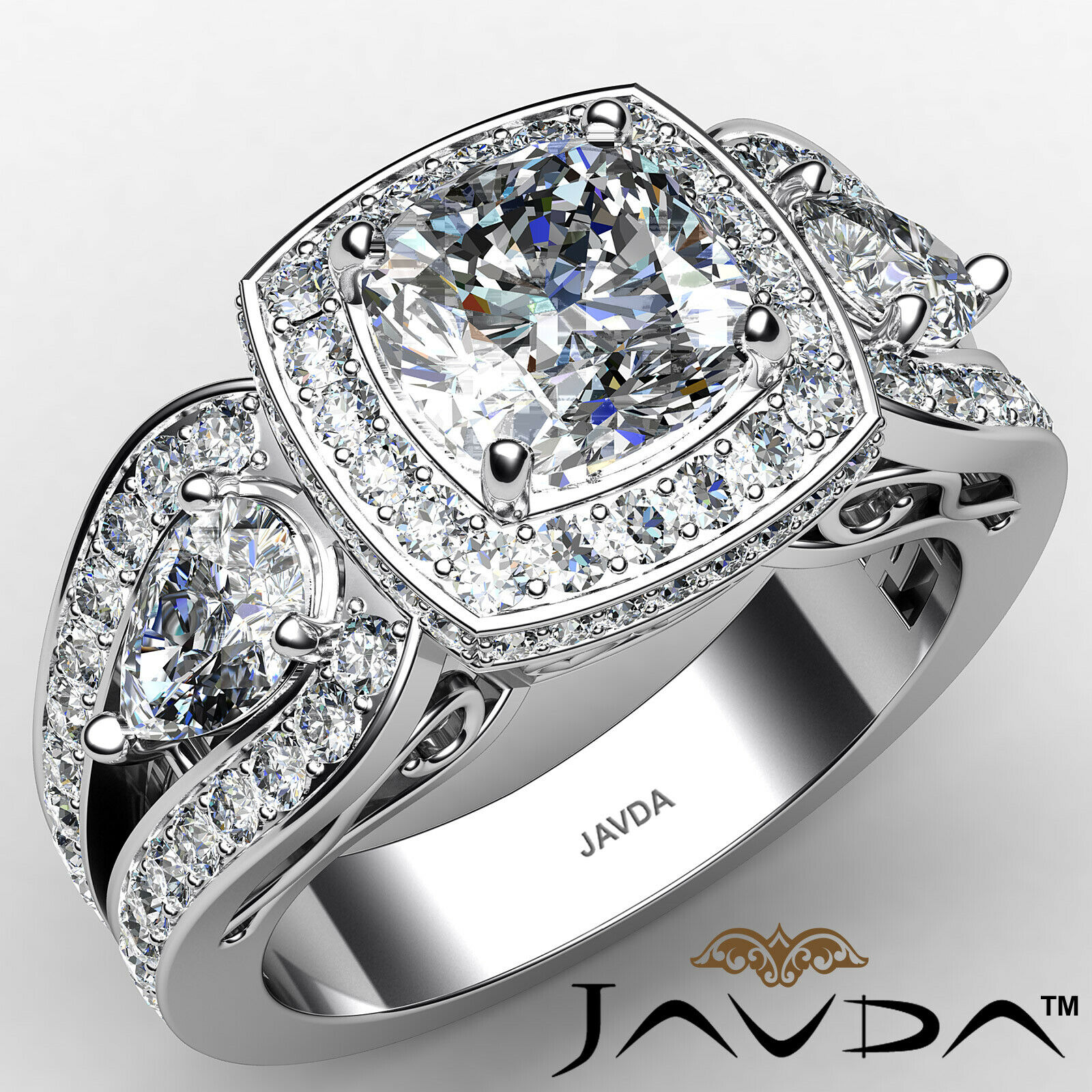 Cushion Diamond Engagement Ring Certified by GIA, I Color & VVS2 clarity 2.76ctw