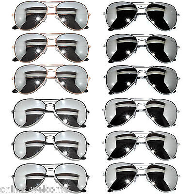 WHOLESALE SET OF 12 AVIATOR STYLE MIX COLORS MIRROR LENS METAL FRAME SUNGLASSES - Wholesale Shades