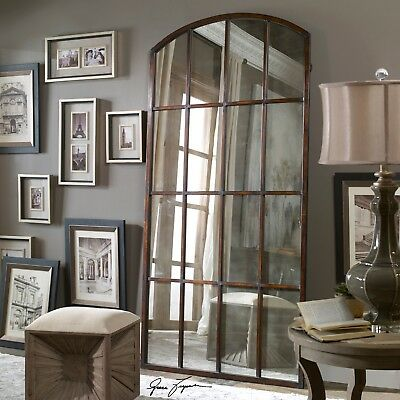 extra large antiqued window arch mirror wall