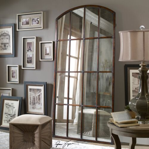 """Extra Large Antiqued WINDOW Arch MIRROR Wall Leaner 82"""" Oversize Horchow Neiman"""