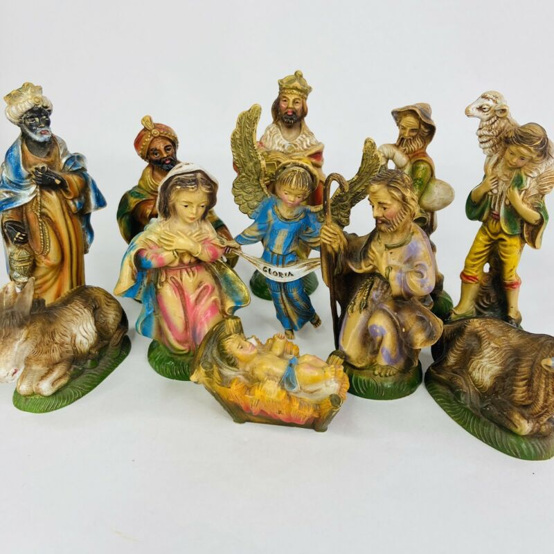 11 Piece Vintage Nativity Set Hand Painted Resin Italy Christmas 4.25 inches
