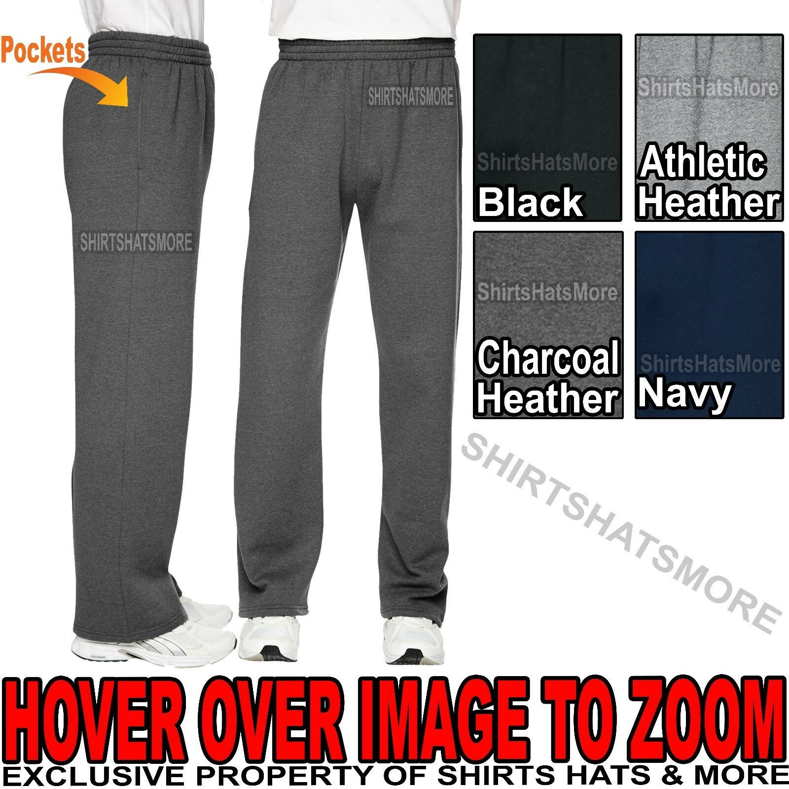 Mens Softspun Open Bottom Sweatpants With Pockets S, M, L, X