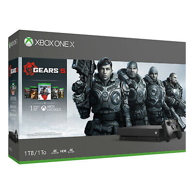 NEW Microsoft Xbox One X 1TB Gears 5 Gaming Console Bundle Black