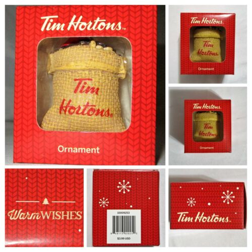 TIM HORTONS Coffee Burlap Sack of Beans NEW 2016 Holiday Christmas Tree ORNAMENT